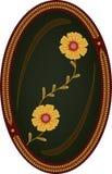 Fleurs sur le fond foncé dans la trame ovale Illustration Libre de Droits