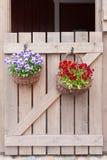 Fleurs sur le panier dehors Photographie stock libre de droits