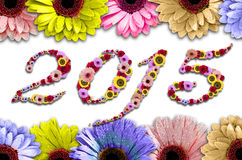 2015 fleurs sur le rame fait en coloré Photo stock