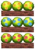 Fleurs sur les murs de briques illustration de vecteur