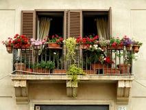 Fleurs sur un balcon Photographie stock libre de droits