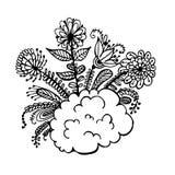 Fleurs sur un croquis de griffonnage de nuage Images stock