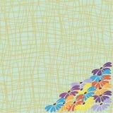 Fleurs sur un fond des lignes jaunes Photos stock