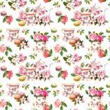 Fleurs, tasse de thé, gâteaux, macarons, pot watercolor Fond sans couture Photographie stock libre de droits