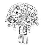 Fleurs tirées par la main Bouquet de mariage Illustration de vecteur Photo libre de droits