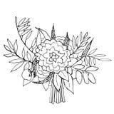 Fleurs tirées par la main Bouquet de mariage Illustration de vecteur Images libres de droits