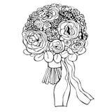 Fleurs tirées par la main Bouquet de mariage Illustration de vecteur Image libre de droits