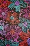 Fleurs tirées par la main dans la craie Photographie stock libre de droits
