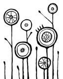 Fleurs tirées par la main noires sur le fond blanc illustration de vecteur