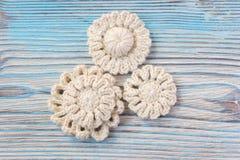 Fleurs tricotées par crochet blanc d'Irlandais Images stock