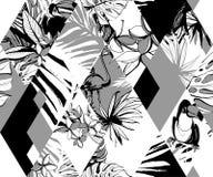 Fleurs tropicales de paumes d'oiseaux de modèle sans couture de diamant Style grunge d'encre illustration stock