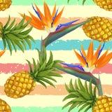 Fleurs tropicales et ananas exotiques sans couture Photos stock