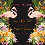 Fleurs tropicales Oiseau aquatique de flamant Faire gagner la datte Carte tropicale illustration libre de droits