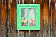 Fleurs vues par un hublot en bois d'une vieille maison image stock