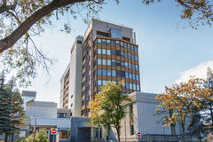 Fleury hospital. With its 174 beds, Fleury Hospital provides care and general and specialized services to the population of the territory of Ahuntsic and Royalty Free Stock Images