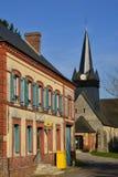Fleury la Foret Frankrike - marsch 15 2016: den pittoreska villagen Arkivfoton
