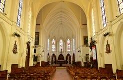 Fleury sur Andelle, Frankrike - marsch 15 2016: kyrka Royaltyfria Bilder