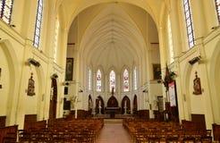 Fleury sur Andelle, Frankrike - marsch 15 2016: kyrka Royaltyfri Bild