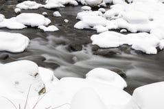 Fleuve circulant pendant l'hiver Photos stock