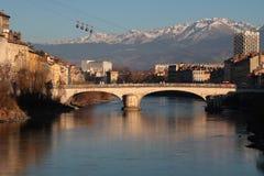 Fleuve d'Isere à Grenoble Photographie stock libre de droits
