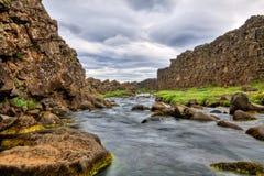 Fleuve dans la gorge, Thingvellir NP, Islande Photos libres de droits
