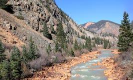Fleuve dans les montagnes rocheuses Photos libres de droits