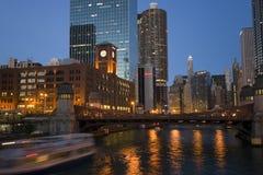 Fleuve de Chicago de canotage Photos libres de droits