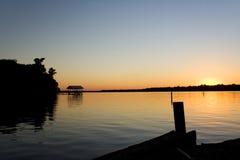 Fleuve de coucher du soleil Photographie stock
