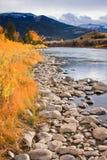 Fleuve de Gardiner dans l'automne, Montana. Images libres de droits