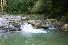 Fleuve de montagne avec des cascades à écriture ligne par ligne Photographie stock libre de droits