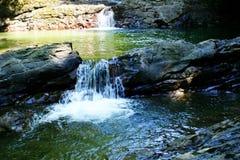Fleuve de montagne avec des cascades à écriture ligne par ligne Images stock