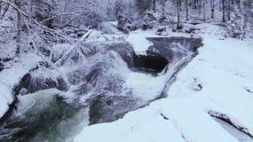 Fleuve de montagne en hiver banque de vidéos