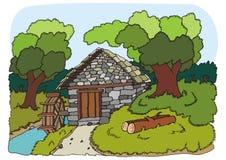Fleuve de moulin et illustration d'arbres illustration de vecteur