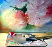 fleuve de peinture à l'huile d'horizontal de forêt Photos stock