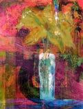 fleuve de peinture à l'huile d'horizontal de forêt Images libres de droits