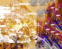 fleuve de peinture à l'huile d'horizontal de forêt Image libre de droits