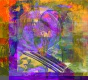 fleuve de peinture à l'huile d'horizontal de forêt Photo libre de droits