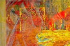 fleuve de peinture à l'huile d'horizontal de forêt Photos libres de droits