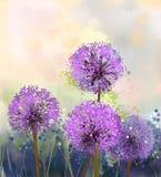 fleuve de peinture à l'huile d'horizontal de forêt Fleur d'oignon pourpre illustration stock