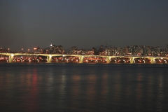 Fleuve de Séoul Han la nuit Photographie stock