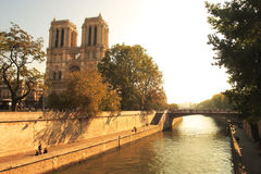 Fleuve de Seine et Notre Dame de Paris célèbre. Images libres de droits