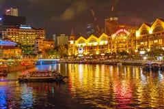 Fleuve de Singapour la nuit Photo libre de droits