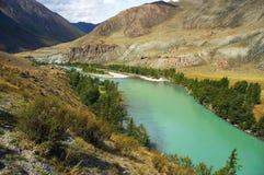 Fleuve de turquoise dans les montagnes Photos libres de droits