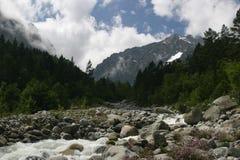 Fleuve en montagne, Alania (Osetia du nord), Kavkaz Image libre de droits