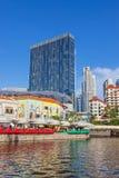 Fleuve et Clarke Quay de Singapour Image libre de droits