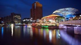 Fleuve et Clarke Quay de Singapour Photos libres de droits