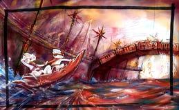 fleuve rouge, conception de l'avant-projet de pays industrialisés Images libres de droits