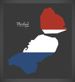 Flevoland Netherlands map with Dutch national flag Royalty Free Stock Photography