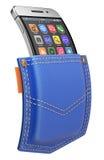 Flexibele mobiel met abstract die pictogram in de zak wordt geplaatst Royalty-vrije Stock Foto