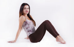 Flexibele vrouw opleiding royalty-vrije stock foto